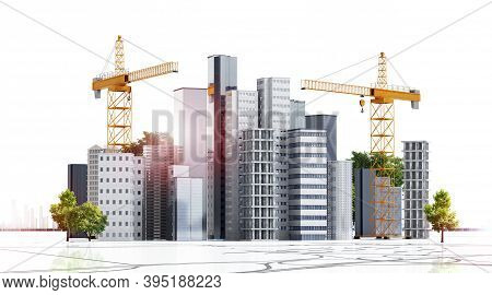 3d Render Of Conceptual Urban Building Construction. Multiple Skyscrapers And Buildings Under Constr
