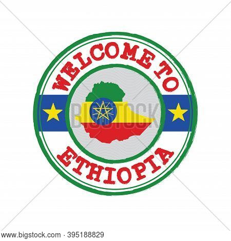 Vector Stamp Of Welcome To Ethiopia With Map Outline Of The Nation In Center. Grunge Rubber Texture
