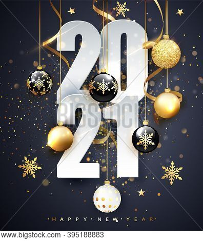 Happy New 2021 Year. Holiday Vector Illustration Of Numbers 2021. Gold Numbers Design Of Greeting Ca