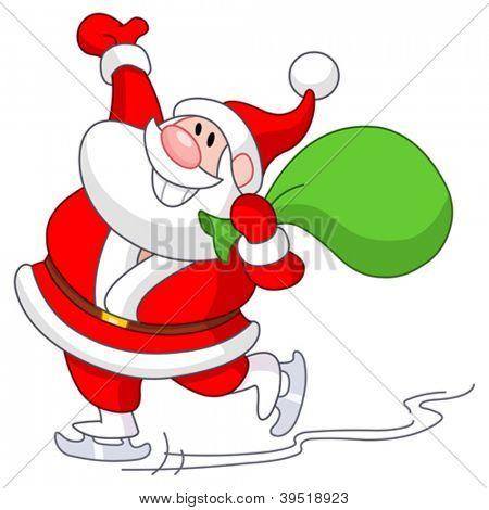 Santa Claus skating on ice