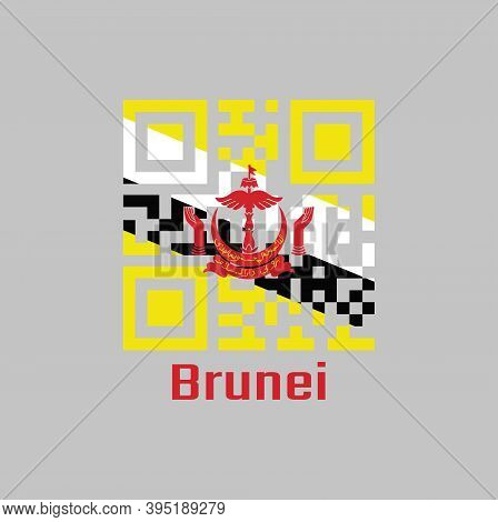 Qr Code Set The Color Of Brunei Flag, A Centered Red Crest On Yellow Field Cut By Black And White Di