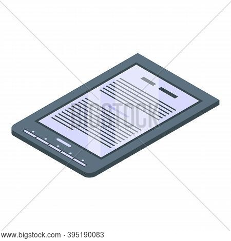 Library Ebook Icon. Isometric Of Library Ebook Vector Icon For Web Design Isolated On White Backgrou