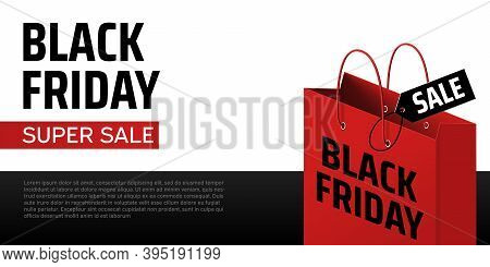 Black Friday Shopping Bag. Red Bag With Sale Label. Black Friday Vector Banner. Shopping Promotion.