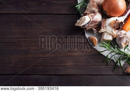 Beef Bone And Vegetable Ingredients For Cooking Broth. Healthy Food With Collagen And Amino Acids. C