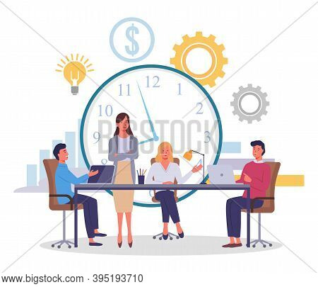 Huge Conceptual Clock, Dollar Icon, Gears, Idea Light Bulb, Big Table, Employees, Partners Or Compet
