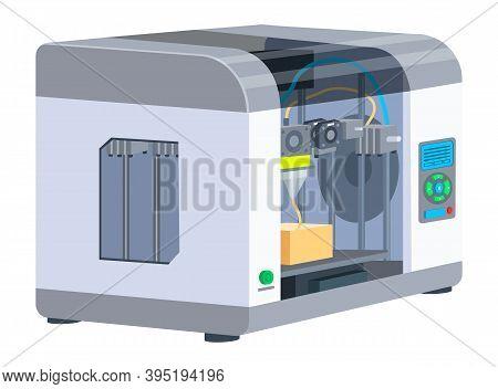 Industrial 3d Printer Prints A Box Concept. Print House Equipment, Digital Model Of A Volumetric Pro
