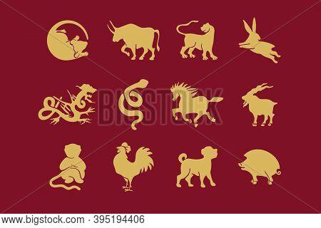 The Set Of Symbols Of The Chinese Horoscope. Twelve Zodiac Animals. Eastern Horoscope.