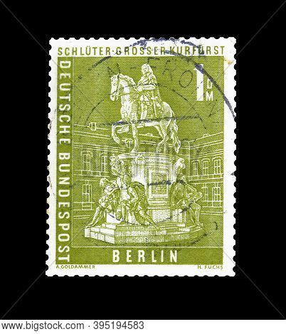 Cancelled Postage Stamp Printed By Germany, Berlin, That Shows Statue Of Great Elector, Circa 1956.