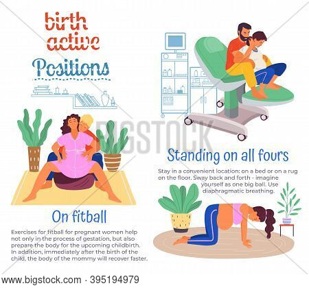 Position Of Pregnant Woman, Reproduction Set. Females With Belly Giving Birth On All Floors, Fitball