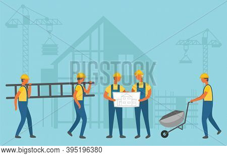 Builders Carrying Stairs And Wheelbarrow, Contactors Men Discussing Project. Construction Workers In