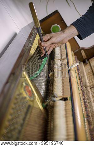 Tune Piano, Key Press, Listen, Piano Tune, Tuner, Musical., Vertical,