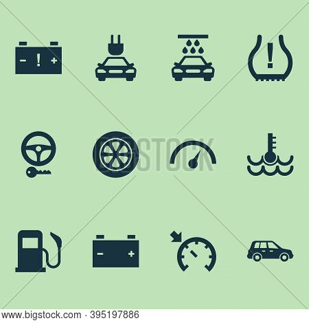 Auto Icons Set With Fuel, Electric Car, Crossover And Other Warning Elements. Isolated Vector Illust
