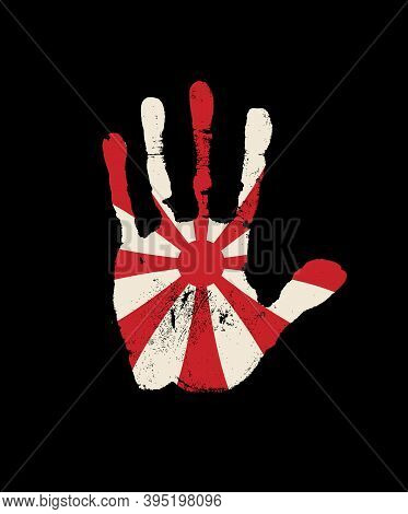 Human Palm Print In The Colors Of The Japanese Imperial Navy Flag. Abstract Japanese Flag In The For
