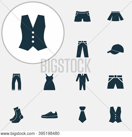 Clothes Icons Set With Gumshoes, Briefs, Shorts And Other Swimming Trunk Elements. Isolated Vector I