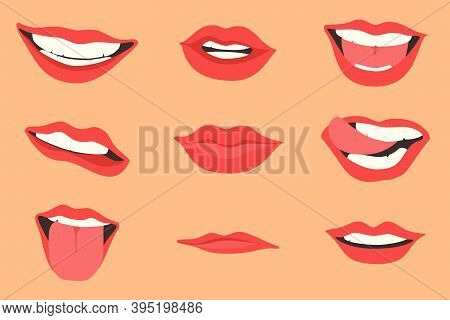 Red Lips Collection. Vector Illustration Of Sexy Woman's Lips Expressing Different Emotions, Such As