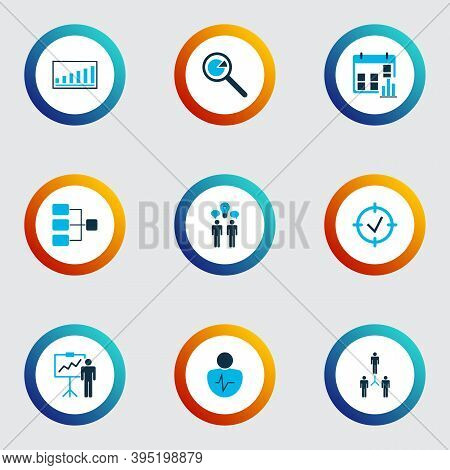 Executive Icons Colored Set With Connection Network, Project Presentation, Personality Traits And Ot