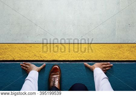 2021 Year Concept. Top View Of A Man On Start Line, Get Ready For New Challenge. Metaphore Photo