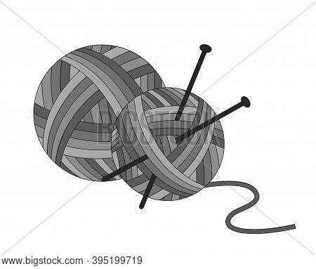 Balls Of Yarn With Knitting Needles. Shades Of Gray. Vector Isolated Illustration On White Backgroun