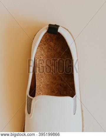 Men's white espadrilles slip-on rubber cork insole mockup