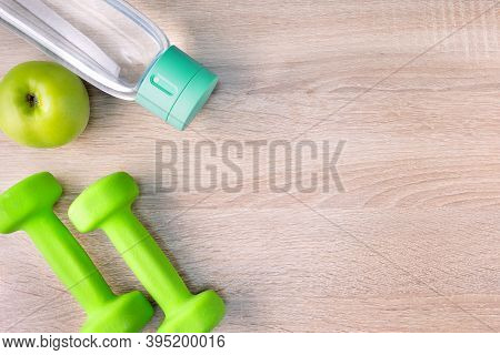 Healthy Lifestyle Concept With Dieting, Fitness.  Top View Flat Lay With Copy Space For Workout Plan