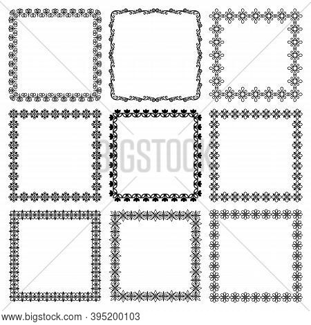 Vector Set Of Square Floral Frames. Abstract Graphic Flowers. Group Of Simple Monochrome Linear Orna