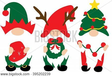 Christmas Gnomes In Red, Green Hats With Christmas Decorations