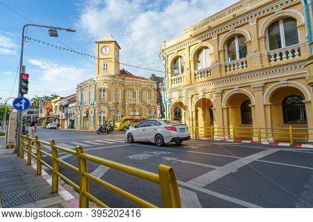 Phuket, Thailand - November 14, 2020 : Phuket Old Town With Building Sino Portuguese Architecture At