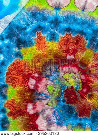 Psychedelic Swirl Textile. Red And Indigo Freedom Tiedye Swirl. Boho Dyed Clothes. Reggae Watercolor