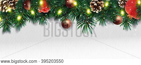 Realistic Christmas Decor With Of Pine Branches, Pine Cone, Pomegranate, Sparkles, Light Garland And