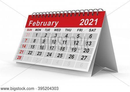 2021 year. Calendar for February. Isolated 3D illustration