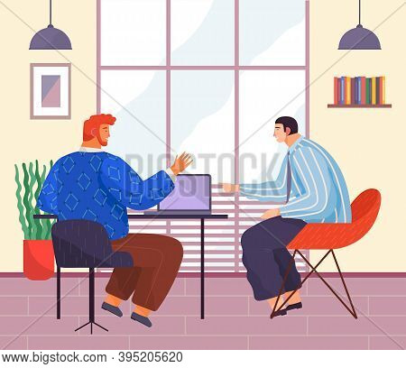 Businessmen Sitting At Desk With Laptop In Office Interior, Engaged In Project Management. Business