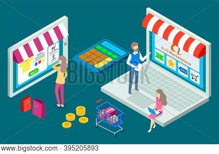 Modern Ways Of Trading Illustration. B2b Marketplace, Online Store Purchases, Shipping By Mail. Vect