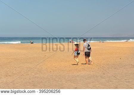 Fuerteventura, Spain : 2020 October 7 : People In The Virgin Beaches On The Island Of Fuerteventura.