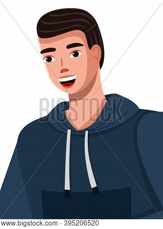 Cartoon Illustration Of A Handsome Young Man With Broad Smile Wearing Blue Hoodie. Dark-haired Smili