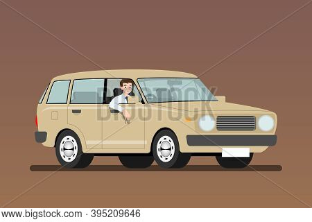 Businessman Driving An Old Car To Work But It's Easy And Fast Than Walk. Business People Drive A Che