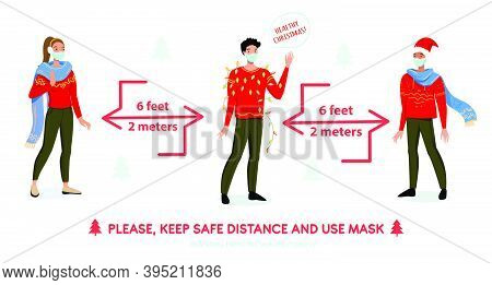 Social Distancing Coronavirus Covid-19 Precautions In Festive Christmas Style. People With Masks And