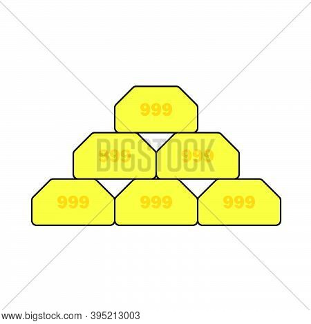 Gold Bullion Icon. Editable Outline With Color Fill Design. Vector Illustration.