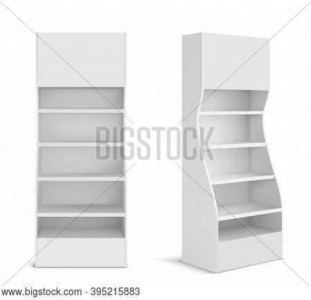 White Pos Display Stand For Products In Supermarket, Store And Shop. Vector Realistic 3d Mockup Of B