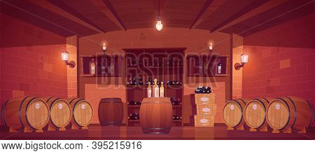 Wine Shop, Cellar Interior With Wooden Barrels, Shelves With Glass Bottles, Boxes With Production An