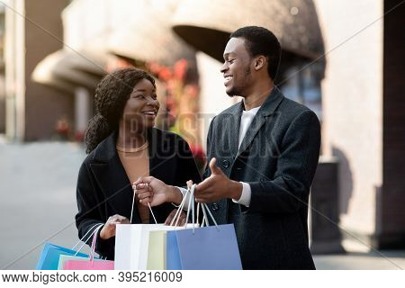 Love, Holiday Sales, Shop, Retail, Consumer. Cheerful Millennial African American Man And Lady With