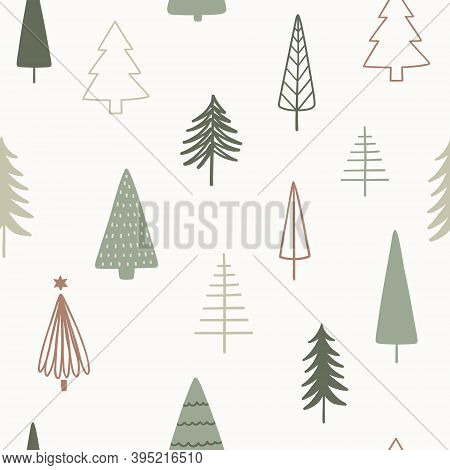 Christmas Season Vector Seamless Pattern. Hand Drawn Texture With Christmas Trees For Wallpaper, Pat