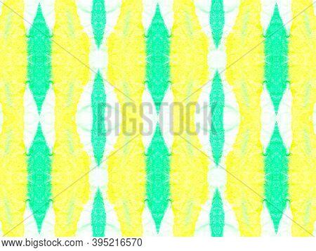 Seamless Kaleidoscope Pattern. Retro Tie Dye Wallpaper. Abstract Drawn Kaleidoscope. Green And Yello