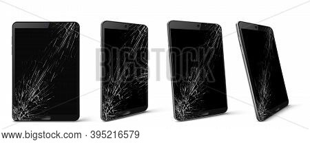 Mobile Phone With Broken Screen Front And Side View, Smashed Smartphone, Shattered Electronics Devic