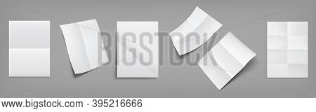Folded Blank Posters, White Paper Sheets With Crossing Creases Top And Perspective View. Vector Real