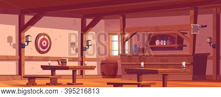 Old Tavern, Vintage Pub With Wooden Bar Counter, Shelf With Bottles, Lanterns And Beer Mug On Table.
