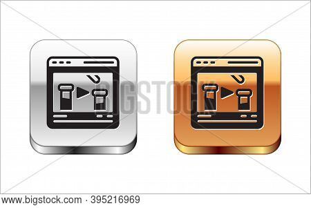 Black Chemical Experiment Online Icon Isolated On White Background. Scientific Experiment In The Lab