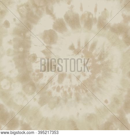 Brown Tiedye Shirt. Abstract Grunge Background. 1970s Design Texture. Papyrus Print. Pastel Batik Ps