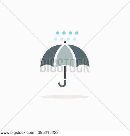 Umbrella And Hail. Color Icon With Shadow. Weather Glyph Vector Illustration