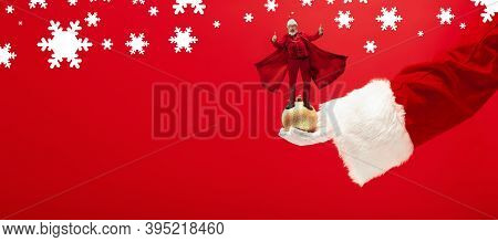 Greeting Flyer For Ad. Concept Of Christmas, 2021 New Years Party, Winter Mood, Holidays. Copyspace,