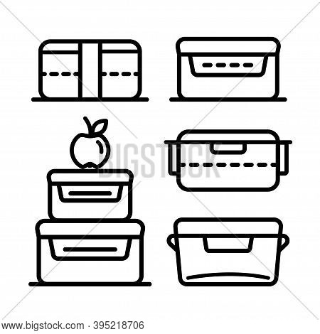 Lunchbox Outline Icon Set. Illustration Set Of Lunchbox Icon Vector For Web Design Isolated On White